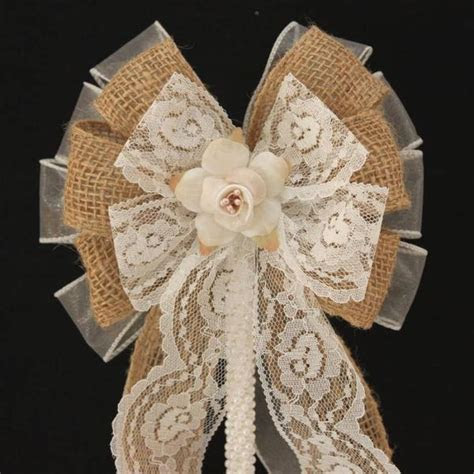 Burlap Lace Floral Rustic Wedding Bow Cake Topper