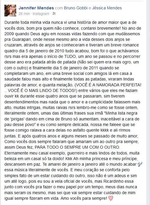 Irmã de Jéssica publicou texto no Facebook (Foto: Reprodução/ Facebook)