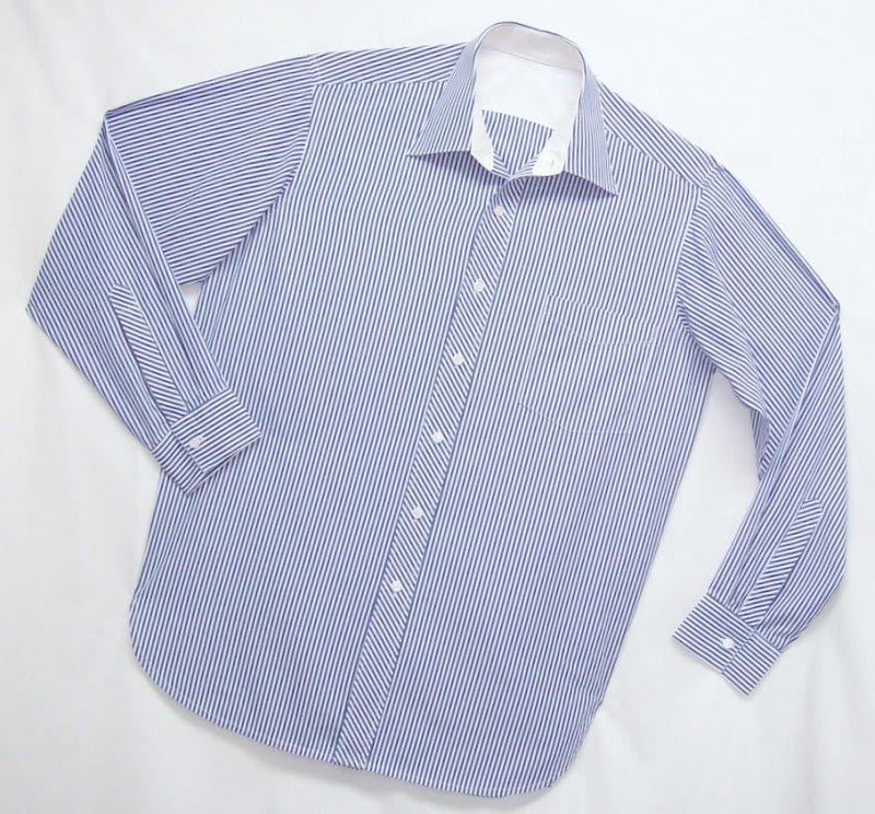 Blue Stripe men's Shirt by Pamela Erny