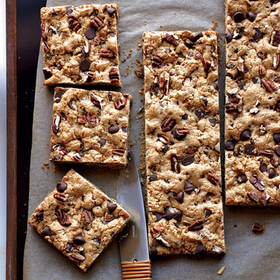 Feel free to swap walnuts or almonds for the pecans, or use half nuts and half dried cranberries for tart, chewy bars. Recipe: Chocolate-Chip-Pecan Cookie Bars