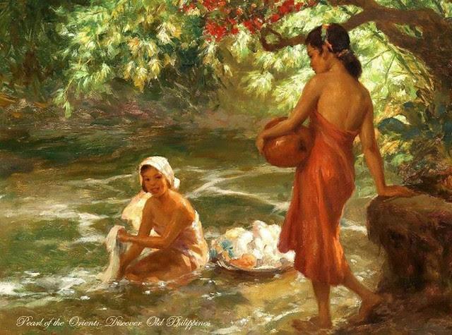 Fernando Amorsolo Girl Washing In The River