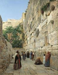 Wailing Wall, Jerusalem, by Gustav Bauernfeind (19th century)