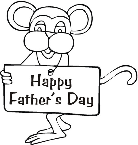mouse wishes happy father's day coloring page