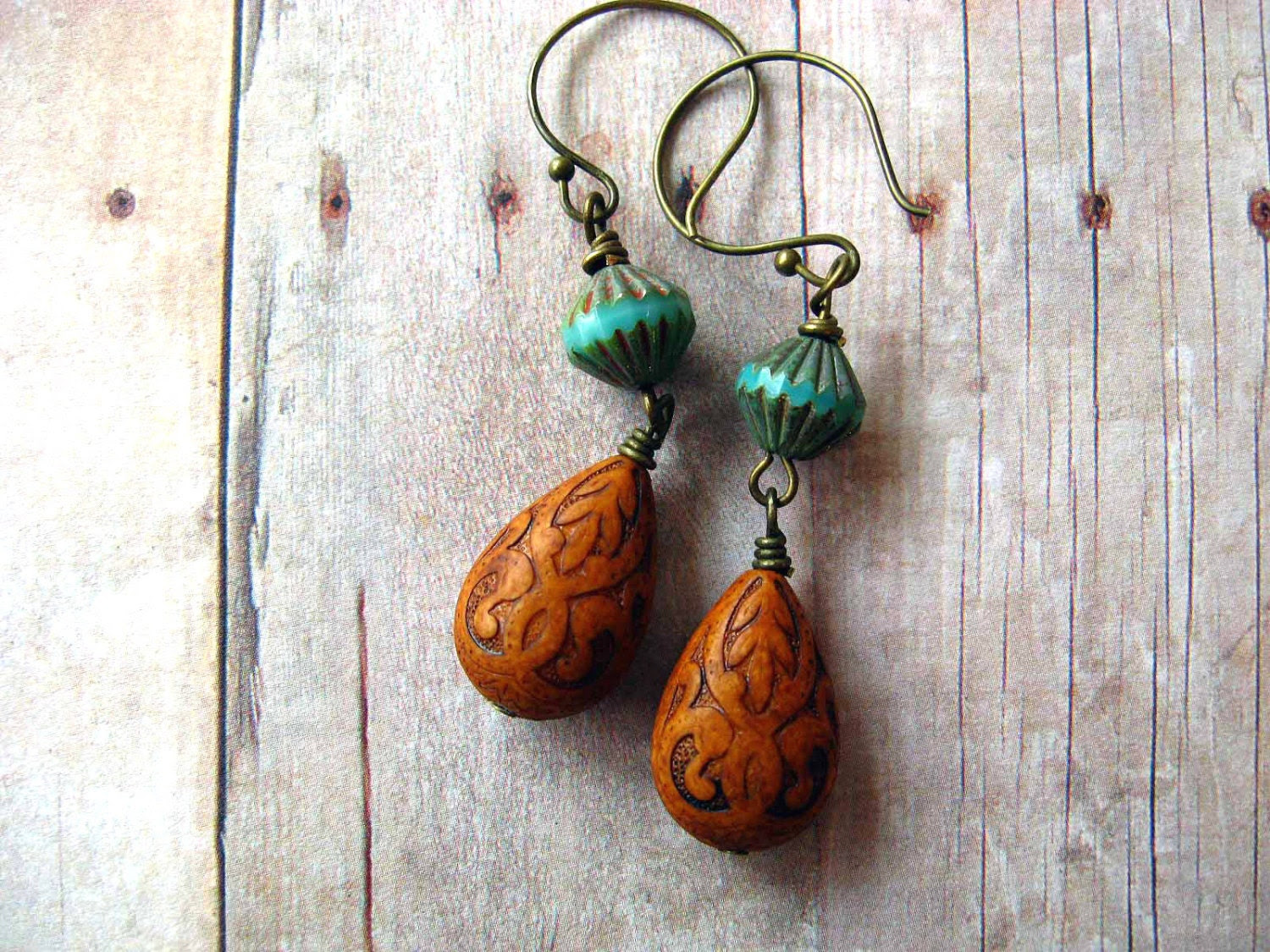 Terracotta and Turquoise  Earrings - Earth Brown Dangles - Vintage Lucite Teardrops - Czech Glass - Gift Box - Under 25 - MySelvagedLife