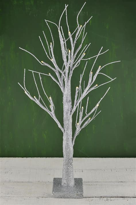 "LED 24"" Silver Glitter Tree Silver Battery Operated"