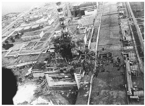 An aerial view of the Chernobyl nuclear power plant is shown in this 1986 photo made a few days after the explosion in Chernobyl, Ukraine. AP/WIDE WORLD PHOTOS.