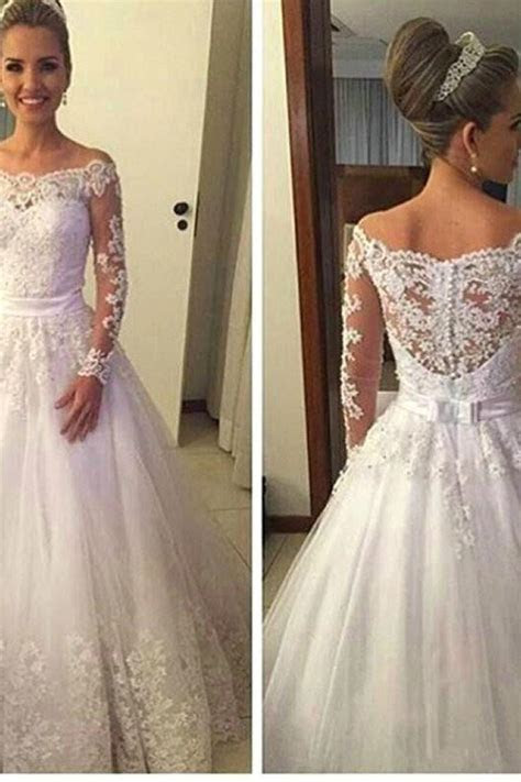 Off the Shoulder Long Sleeve 2018 Wedding Dress A Line