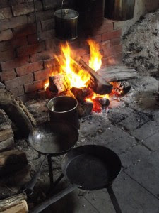 Fire, frying pan, and pots