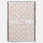Personalize: Floral Pattern Girly Pink Tulips Throw Blanket