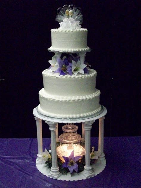 Wedding Cakes with Fountains   purple lily fountain purple