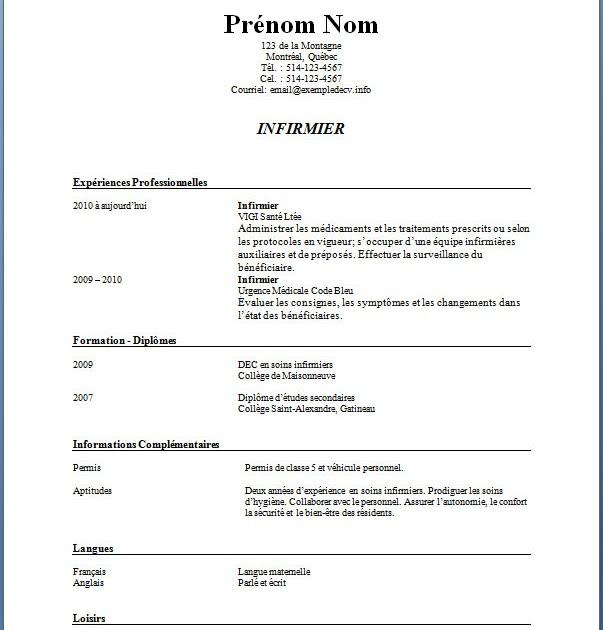 example resume  exemple curriculum vitae infirmiere auxiliaire