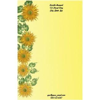Fractal Flower & Leaf Border stationery