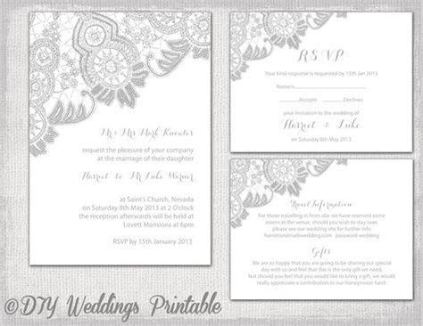 Lace Wedding invitation template Silver Gray Antique