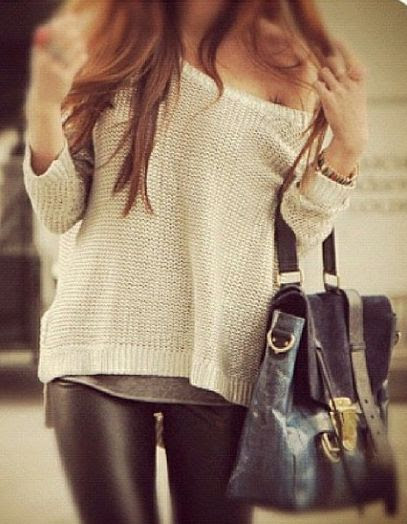 Leather pants and off the shoulder sweater