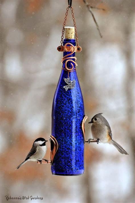 beautiful diy wine bottle bird feeders