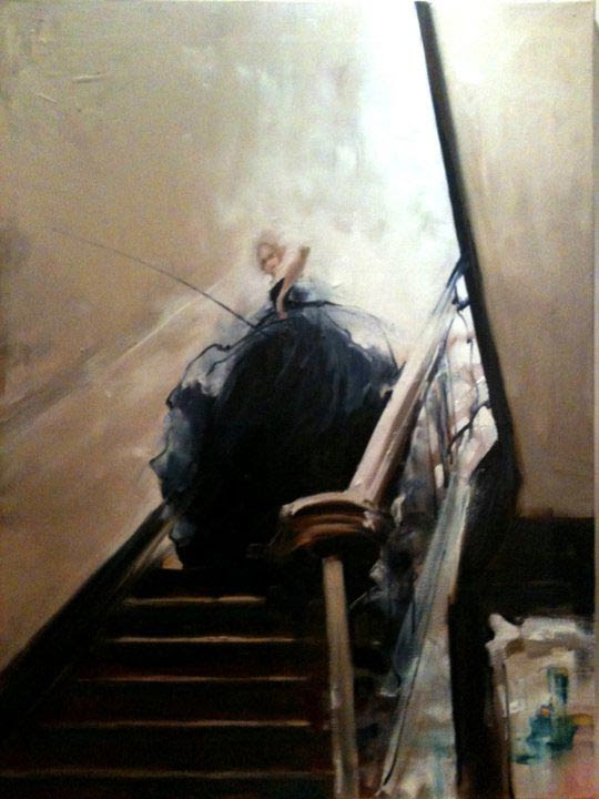 Nushka, Staircase to heaven, huile sur toile, 116x89 cm, 2012