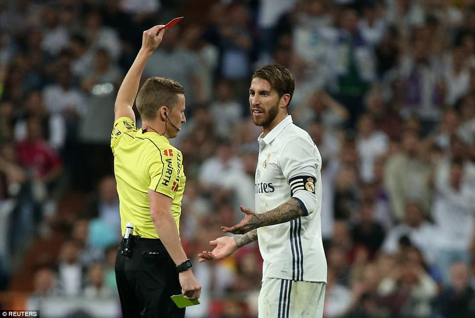 Sergio Ramos received the 22nd red card of his Real Madrid career and his fifth in El Clasicos after a poor challenge on Messi