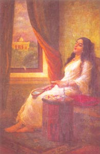 Raja Ravi Varma (1848 - 1906) - In Contemplation, H.H. The Maharaja of Travancore, Kaudiar Palace, Thiruvananthapuram