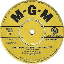45cat Connie Francis Dont Break The Heart That Loves You Ain