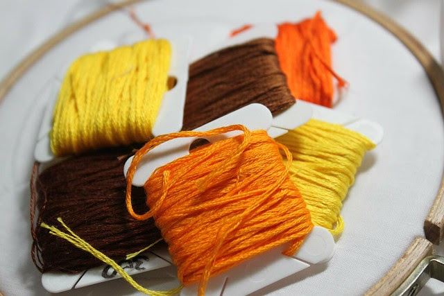 Orange, yellow and brown
