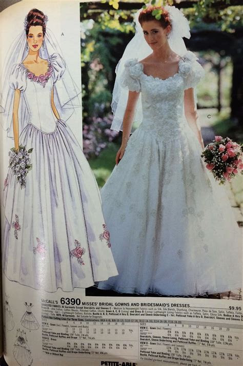 Wedding gown pattern from a 1994 McCall's catalog. #