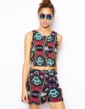 River Island Chelsea Girl African Print Button Front Tank