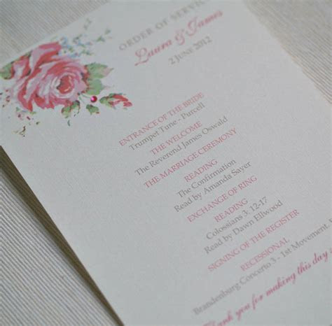 english rose design wedding order of service by beautiful