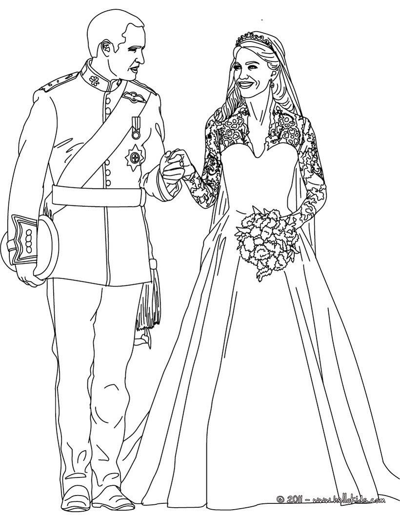 Die königliche Hochzeit zum Ausmalen