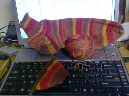 Red striped Felici handknit men's sock
