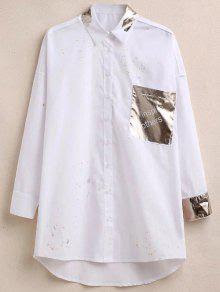 Oversized Paint Splatter Shirt With Shiny Pocket