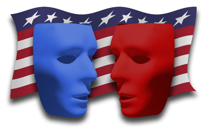 blue, red masks on American flag banner
