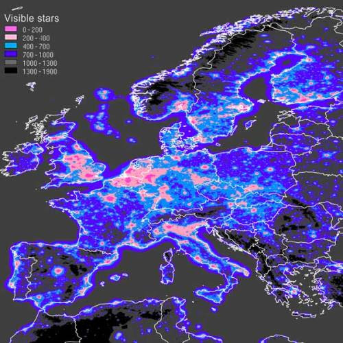 Map of the number of visible stars in Europe nelg:Source http://www.inquinamentoluminoso.it/dmsp/numstar.html    There are other maps, covering the whole world, of artificial night sky brightness. http://www.inquinamentoluminoso.it/dmsp/artbri.html    I chose this over the wider maps, because I felt it to be more descriptive and down-to-point about what light pollution actually entails. From an astronomic or everyday point of view, you see less stars. From an economic point of view, it is simply watt-hours straight into space (from which a certain percentage is reflected and again lights up the ground, granted).  Wikipedia entry on light pollution.