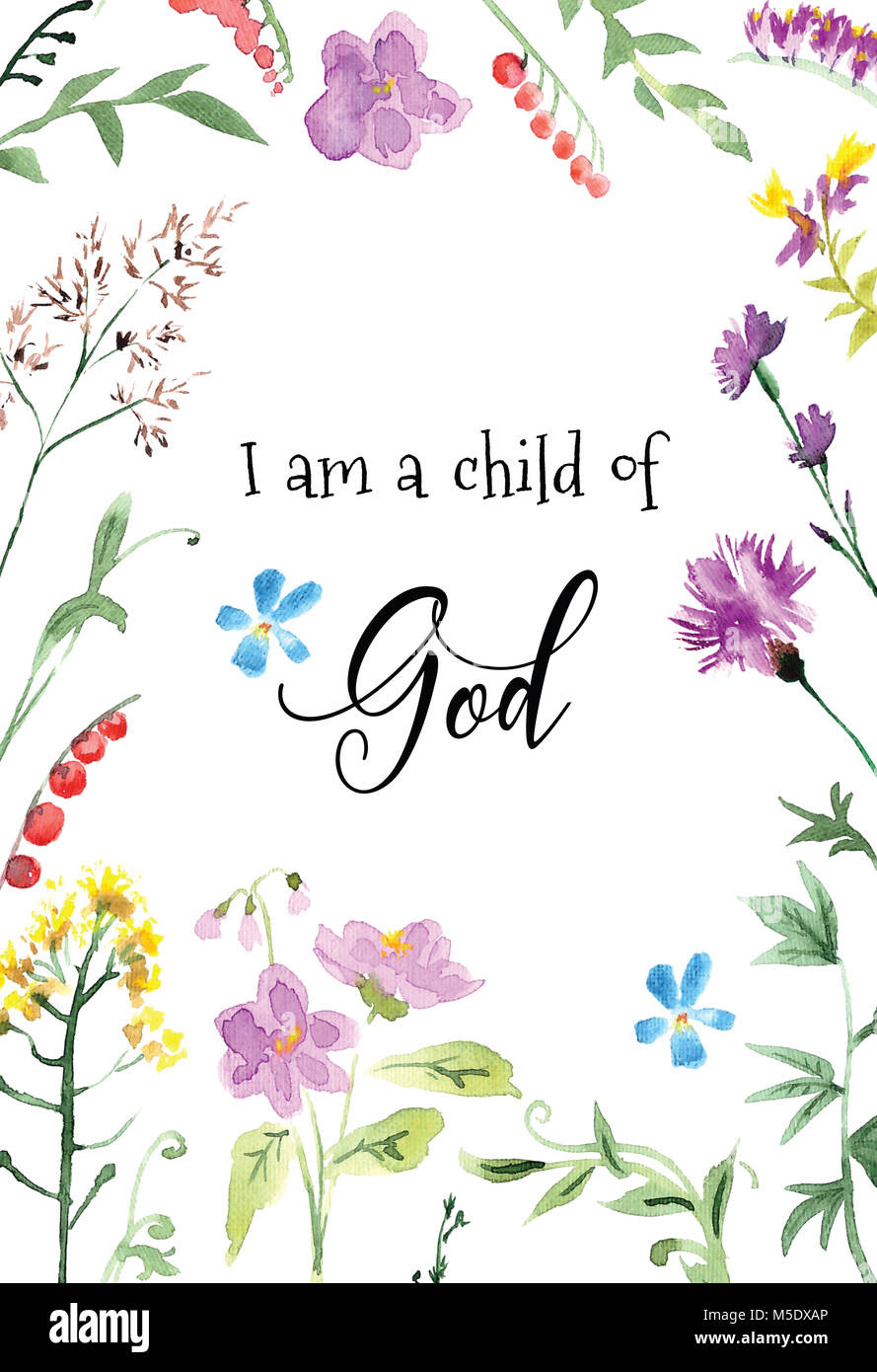Children Bible Quotes Printable Art I Am A Child Of God Stock