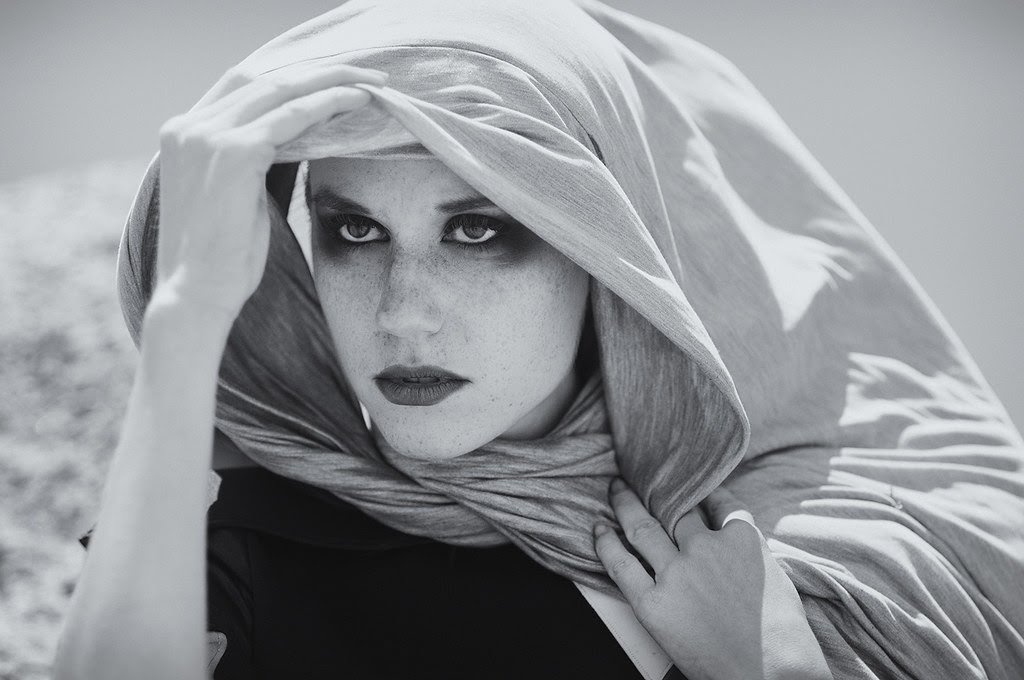 louise Maniscalco designer; Fashion Portrait with Hood