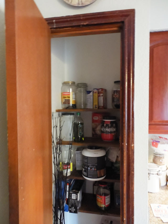 small tiny unorganized pantry