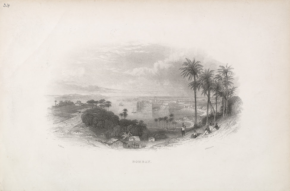 'Bombay.'  General view of Bombay.  Arthur Willmore after Thomas Allom.
