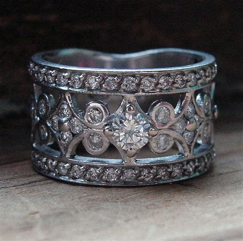 Antique Wedding Band , Vintage White Gold Diamond Band
