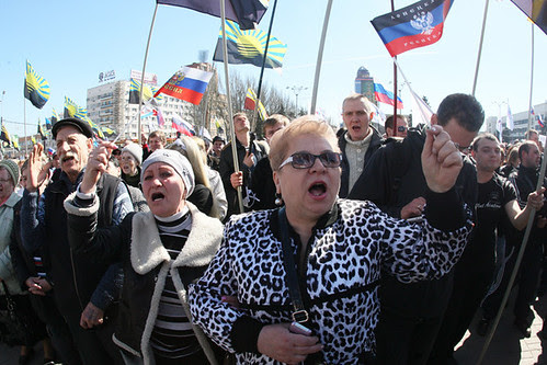 A Donetsk pro-Russian demonstration in eastern Ukraine took place on Sunday March 23, 2014. They are demanding a referendum on the future of the region. by Pan-African News Wire File Photos