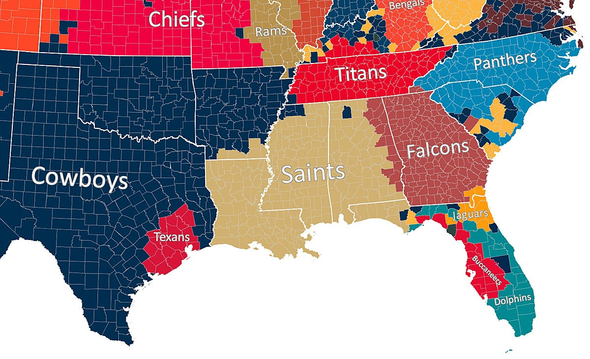 Nfl Fan Map Favorite Team By County Business Insider