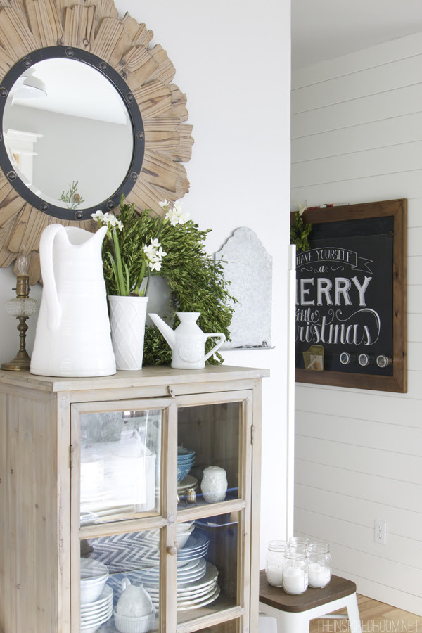 White Paneled Hallway with Wood Framed Chalkboard - The Inspired Room Christmas House Tour