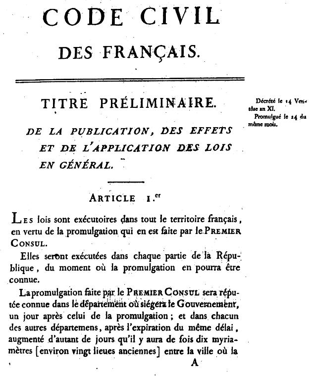 Primera pagina del Código Civil francés de 1804, conocido como el Code Napoleón