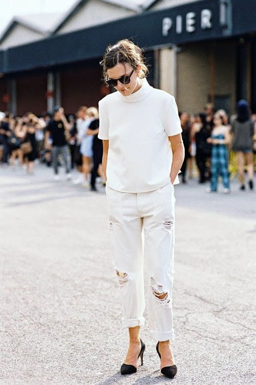 Le Fashion Blog NYC Street Style White On White Funnel Neck Top Ripped Boyfriend Jeans Black Heels Via Vanessa Jackman photo Le-Fashion-Blog-NYC-Street-Style-White-On-White-Funnel-Neck-Top-Ripped-Boyfriend-Jeans-Black-Heels-Via-Vanessa-Jackman.jpg