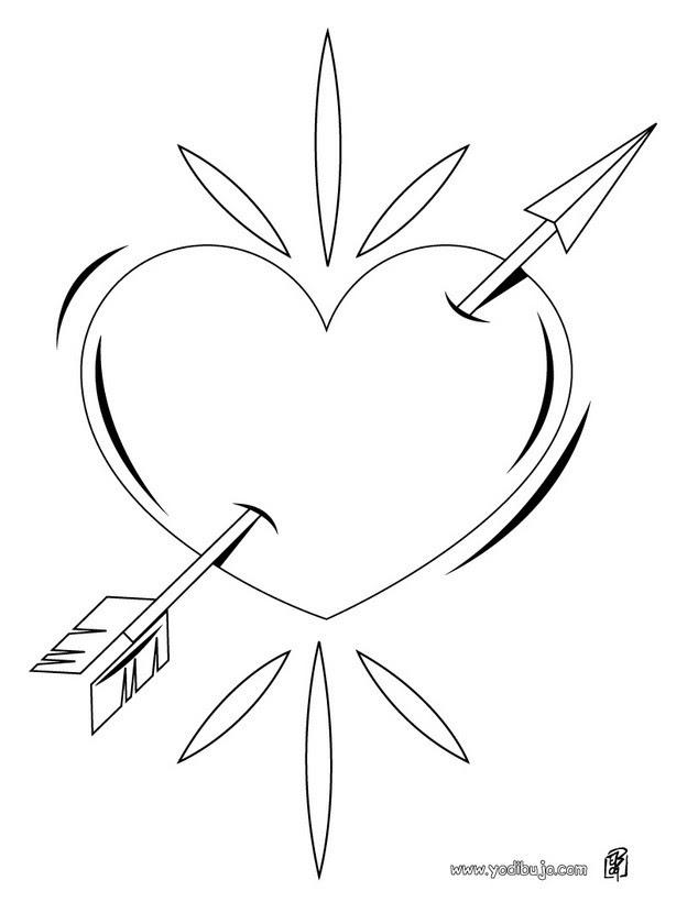 Dibujos Para Colorear Flecha En El Corazón Eshellokidscom