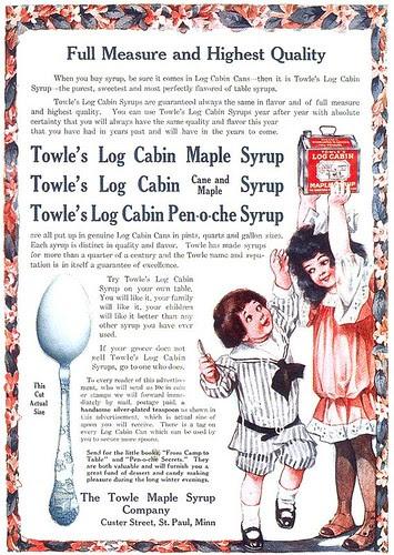 Towle's Log Cabin Syrups ad, 1908