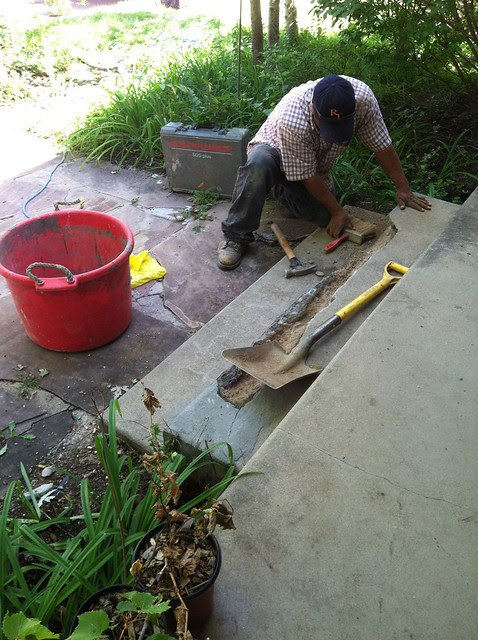 Front Step repair in progress