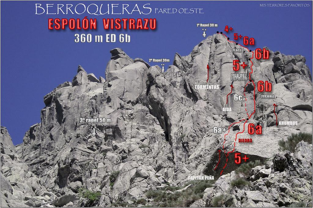 CROQUIS ESPOLÓN VISTRAZU 360 m ED 6b - BERROQUERAS PARED OESTE
