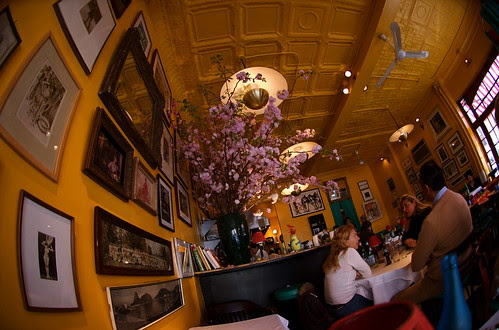 Restaurant with cherry blossoms
