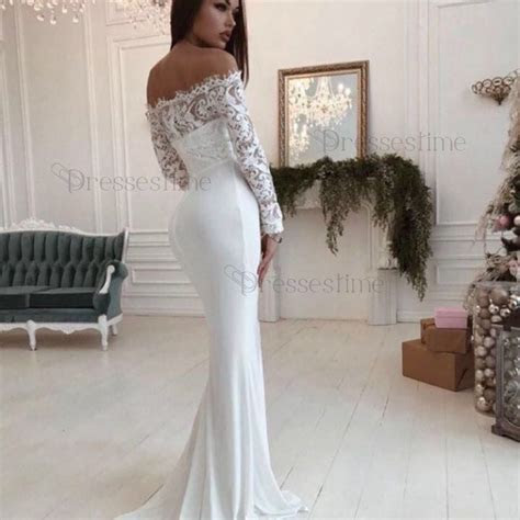 Mermaid Off the Shoulder Long Sleeves Floor Length White