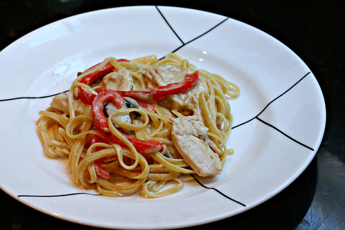chicken and bell pepper alfredo