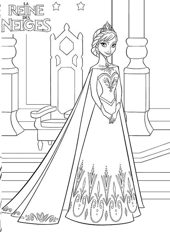 Coloriage A Imprimer Reine Des Neige Elsa Ouvre Les Portes Du Palais